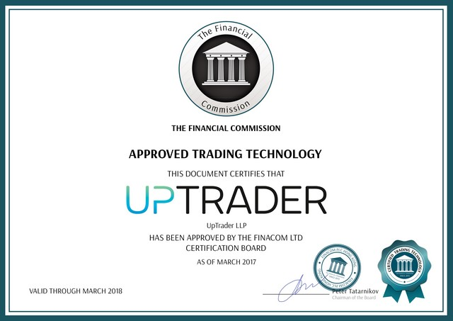 UpTrader confirms FinaCom certification